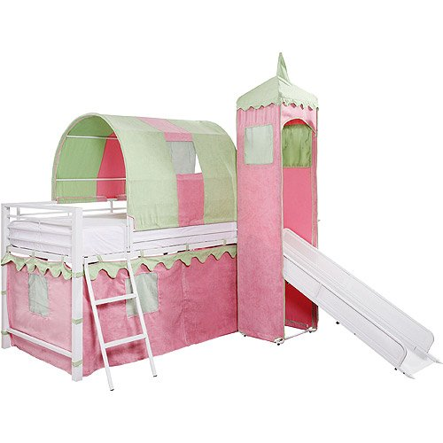 Girlu0027s Castle Tent Loft bed is fit for a good Princess. It features a slide a tent over a twin bed and a protected hiding place below.  sc 1 st  Best Kids Furniture deals & Top 10 Princess Castle beds with tents for 2017 | Best Kids ...
