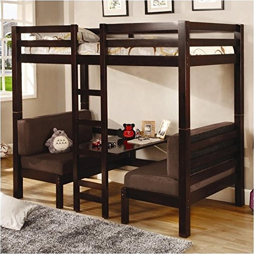 Coaster Twin More than Twin Convertible Loft BUNKBED In Dark Wood End  Coaster Bunk Beds Brown New Transitional Mahogany Dark rich lumber finish;  ...