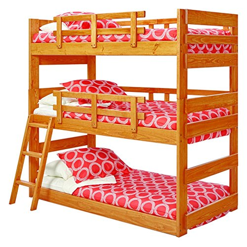 Ideal For Any Kidu0027s Bedroom, Cabin, Or Bunkhouse, The Woodcrest Heartland Triple  Bunk Bed Stacks 3 Twin Beds Securely. Security Rails Along The Sides Hold  ...