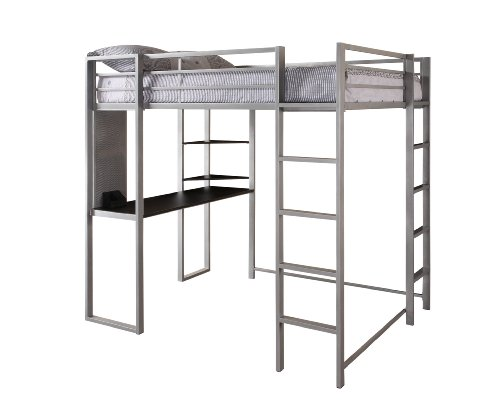 Dhp Abode Full Size Loft Bed Metal Frame With Desk And Ladder Silver
