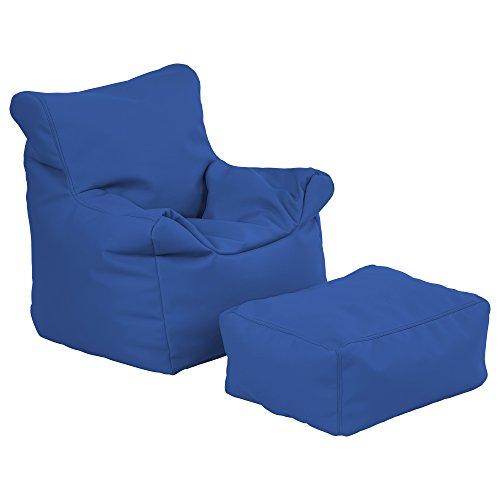 ECR4Kids Bean Bag Chair And Ottoman Set Blue