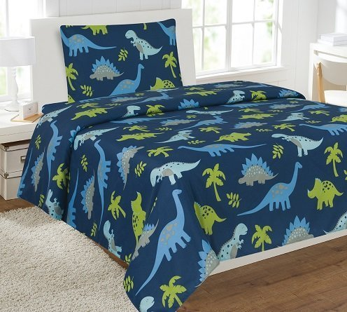 fancy linen collection twin size 3 pc sheet set dinosaur blue light blue grey green dinosaur blue new collection kid