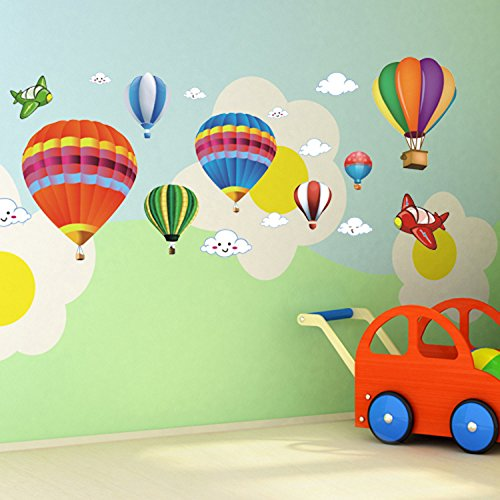 Amaonm Removable Creative 3D Hot Air Balloon Aircraft And Smile Clouds Wall  Decals Kids Room Wall Decorations Art Decor Stickers Nursery Decor 3D Art  Decal ...