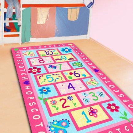 FADFAY Home Textile,Fashion Hopscotch Kids Carpet Bedroom,Sweet Pink Rug,Designer  Figure Childrenu0027s Rugs