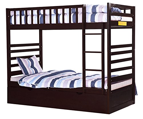 Merax Bunk Bed Twin Over With Trundle And End Ladder In Espresso