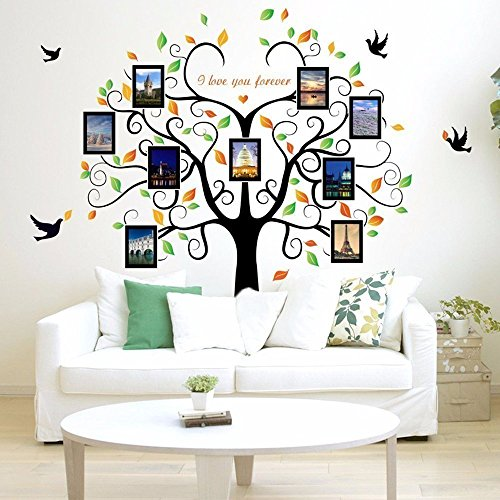 Family Tree Wall Decal 9 Large Photo Pictures Frames Peel And Stick Best Removable Decals For Living Room Bedroom Kids Rooms Mural Decor