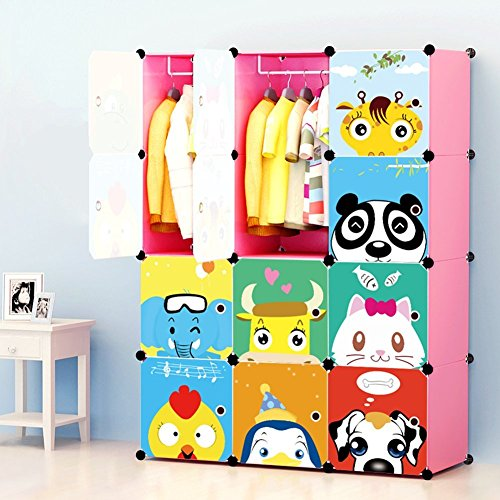 MAGINELS Portable Clothes Closet Wardrobe For Children And Kids Freestanding Armoires Dressers Storage Organizer With Doors