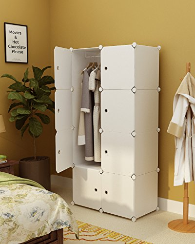 KOUSI Portable Clothes Closet Wardrobe Bedroom Armoire Storage Organizer With Doors Capacious Sturdy 8 Cube White
