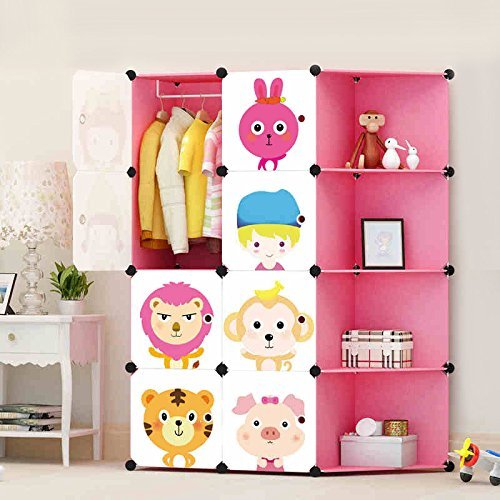 ULWHome Green Cute Cartoon Portable Clothes Closet Wardrobe Storage  Organizer With Corner For Kids , Large Space And Sturdy Construction For  Children, ...