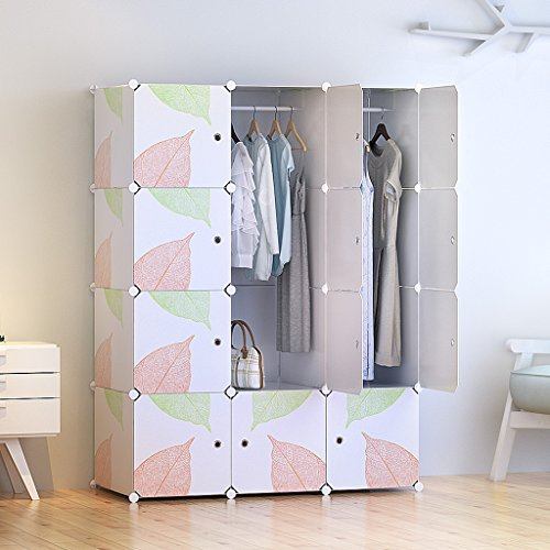 Tespo Portable Clothes Closet Wardrobe DIY Modular Storage Organizer Sturdy Construction 12 Deeper Cubes With Hanging Rods Leaf White